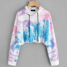 Women Drawstring Sweatshirt Colorful print Pullovers O-Neck