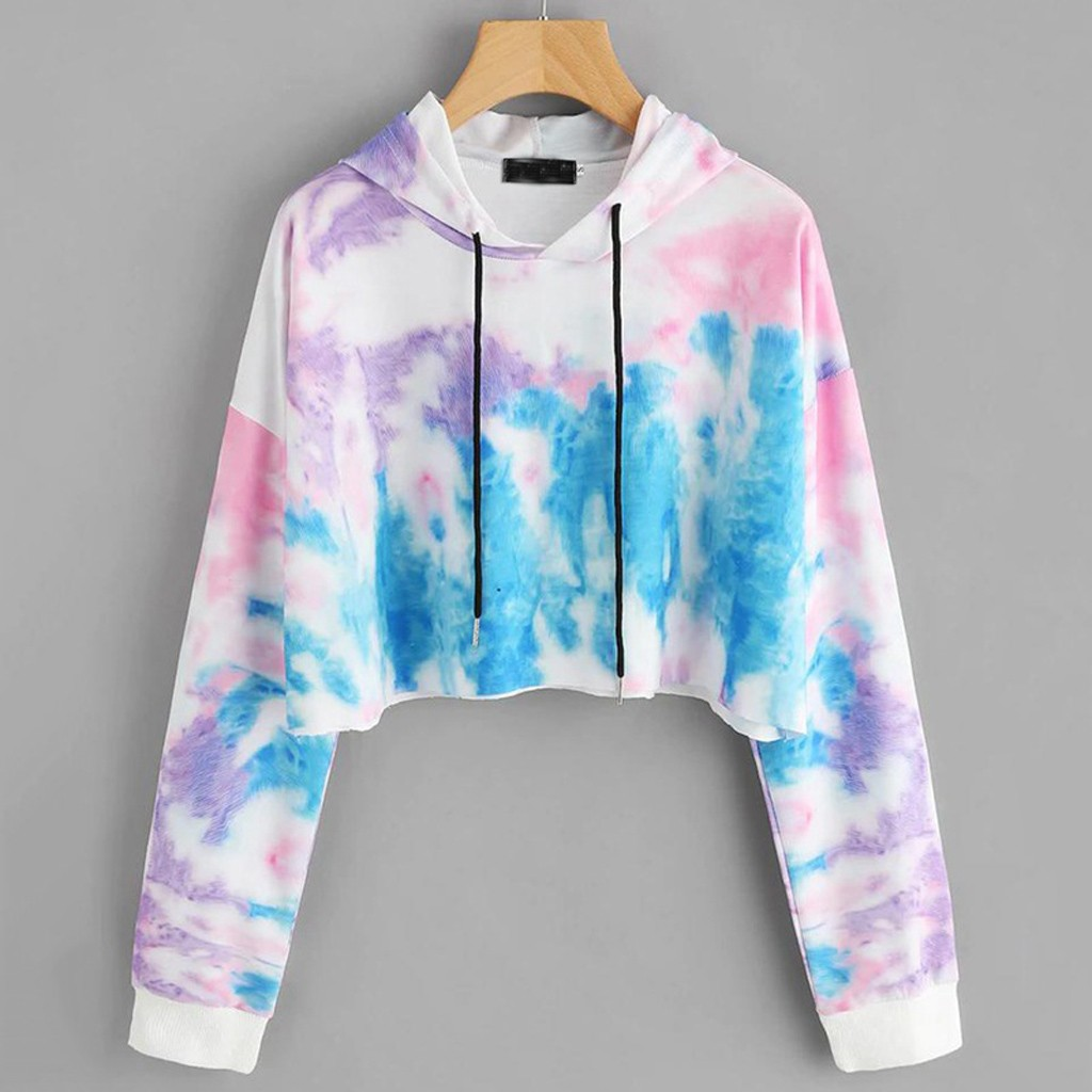 Women Drawstring Sweatshirt Colorful Print Pullovers O-Neck Long Sleeve Hoodie Autumn Winter Pullover Female Blouse D2