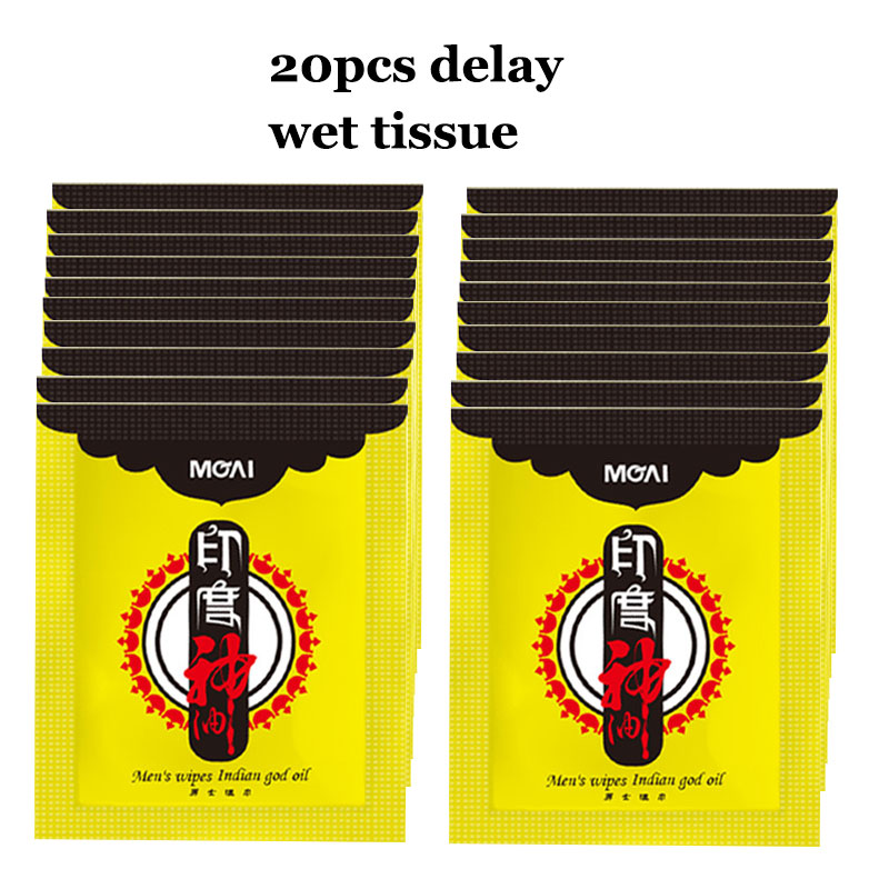 20pc New Indian God Oil Wipes Retardante Sex Ejaculation Delay Wipes Sexual Wet Tissue Wipes for Men Lasting Prolongator for Men
