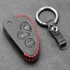 Image 5 - עור אמיתי רכב מפתח כיסוי FOB מקרה עבור אלפא רומיאו 147 156 166 GT JTD TS Flip מרחוק רכב מפתח מעיל ארנק תיק רכב stying