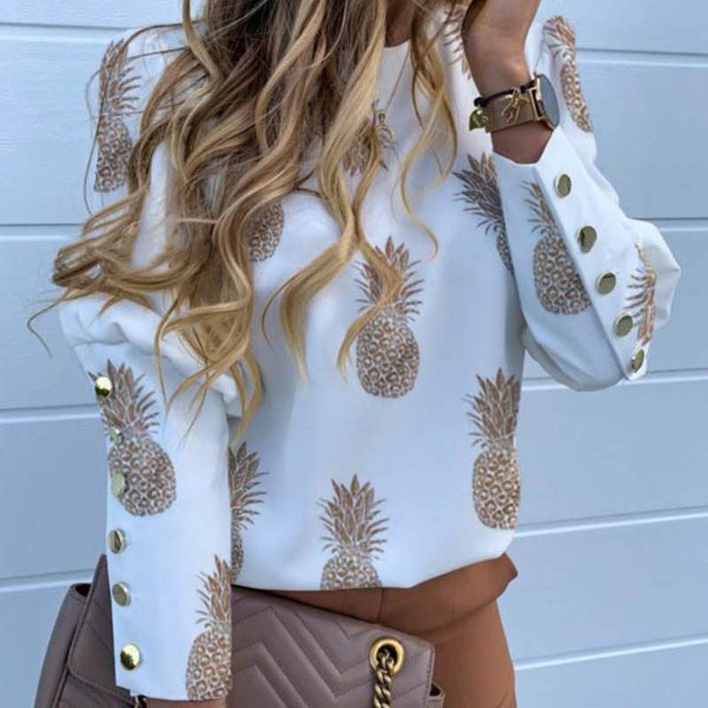 H453bef08649948f3b6f609af2d9e1f02V - Pineapple Blouse Women's Shirt Ananas White Long Sleeve Fashion Woman Blouses Womens Tops and Blouse Elegant Top Female