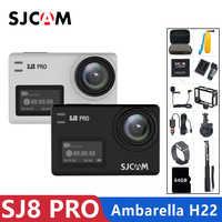 Sjcam sj8 pro câmera de ação 4 k 60fps wifi remoto capacete câmera ambarella chipset 4k @ 60fps ultra hd esportes radicais dv câmera