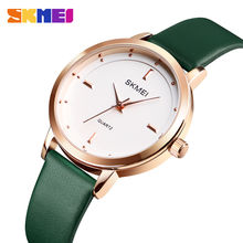 Часы skmei женские кварцевые с кожаным ремешком модные водонепроницаемые