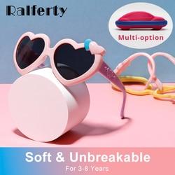Ralferty Flexible Kids Sunglasses Girl's Glasses Polarzied Anti UV Shades for Baby Infant Sweet Heart Shaped Sun Glasses Oculos