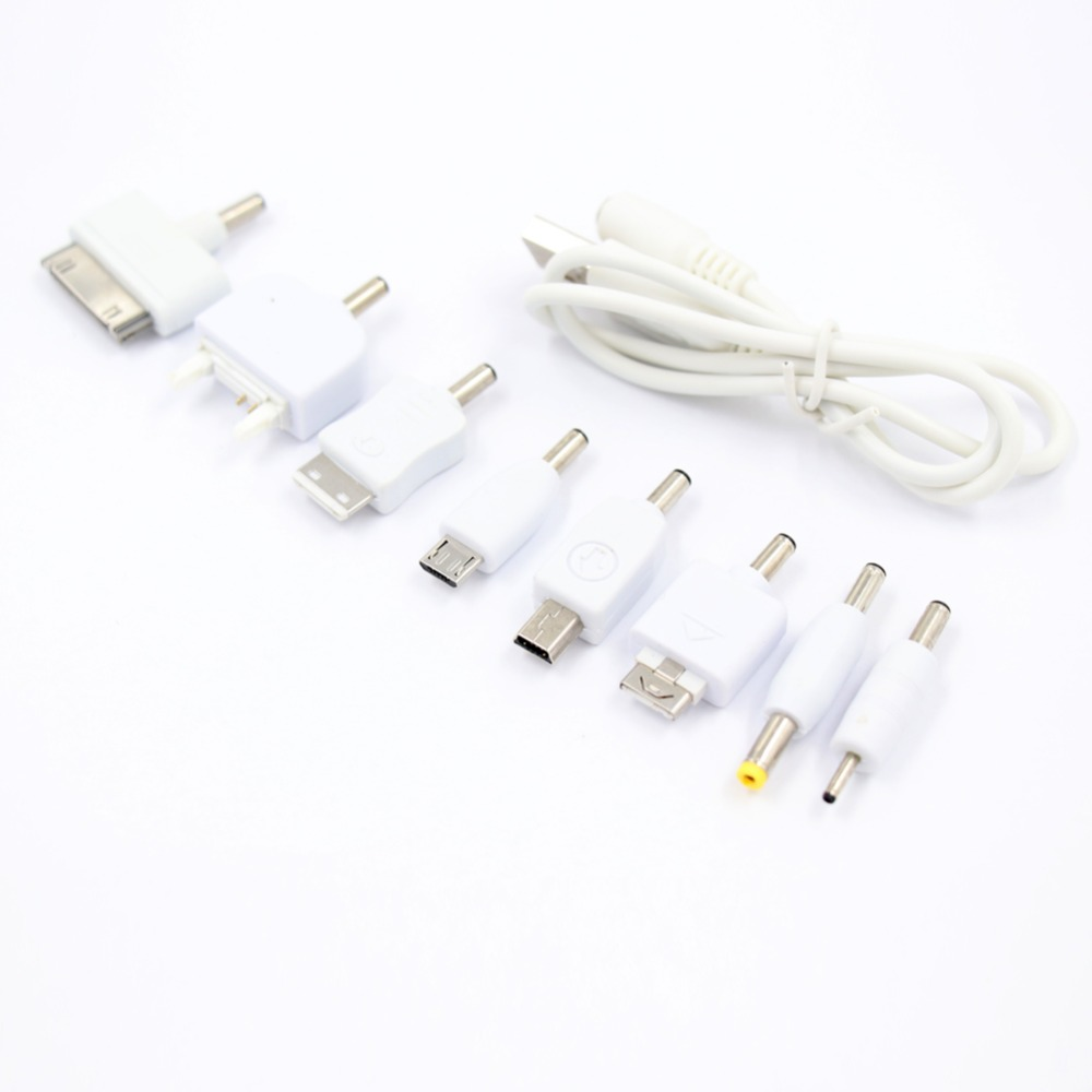 1 Set USB To 10pcs DC Power Plug Charger Adapter Cable For Mobile Use White Kit Mobile Power Connector