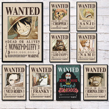 Wanted Poster Fighting Luffy Anime One-Piece Home-Decor Classic Japan Canvas Quadro Hot-Art