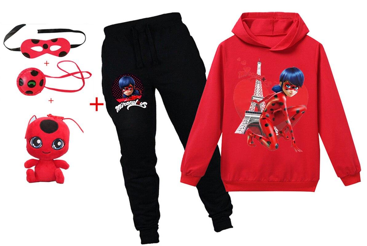 New Cartoon Anime Ladybug 4-15Y Long Sleeve Hooded Sweater Bag Eye Mask Toy Children Fashion Sports Leisure Home Girl Suit