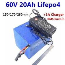 Мощный 60 в LiFePo4 аккумулятор электрический велосипед 60 в 20ah литиевая 1000 Вт 1500 Вт 2000 Вт для электрического мотора ebike 2000 циклов+ зарядное устройство 3 А