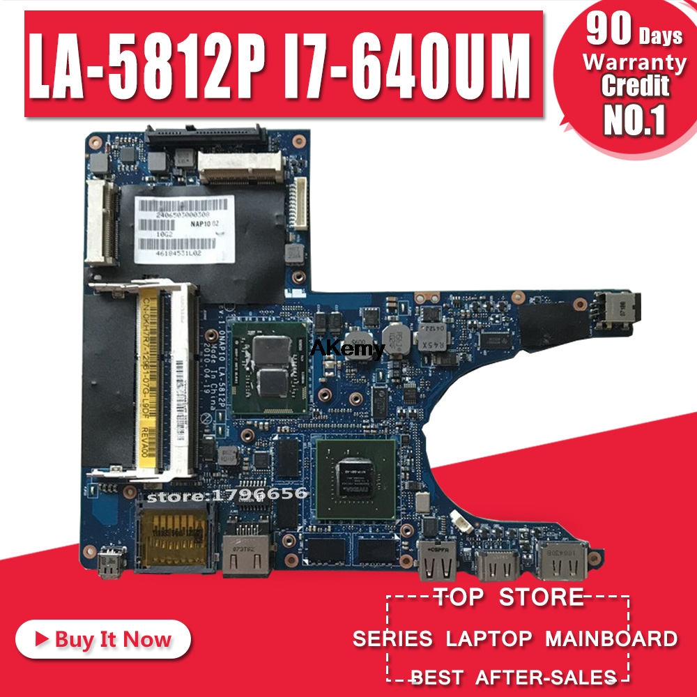 Free Shipping For M11X R2 I7-640UM 0KH7R7 KH7R7 CPU DDR3 CN-0KH7R7 LA-5812P Laptop Motherboard 100%Tested OK