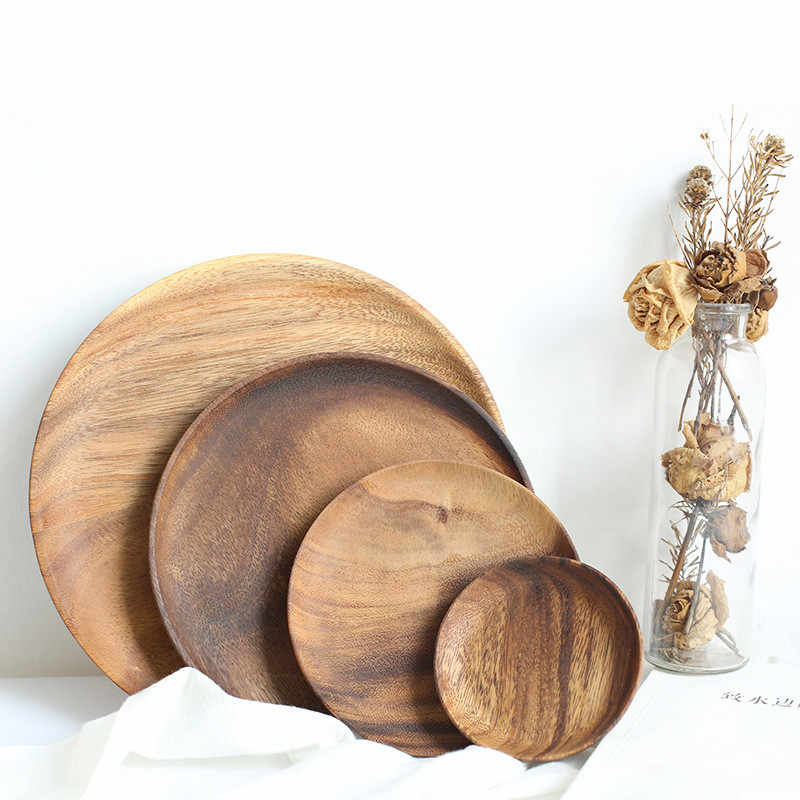 Round Whole Wood Pan Plate Fruit Dishes Saucer Tea Tray Dessert Dinner Bread Wood Plates Solid Wood