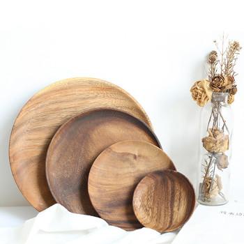 Okrągły talerz z litego drewna talerz potraw z owoców spodek taca herbaciana deser obiad chleb płyty drewniane z litego drewna tanie i dobre opinie CN (pochodzenie) Stałe ROUND Acacia Wood Check the pictures 10 5 15 20 25CM Support