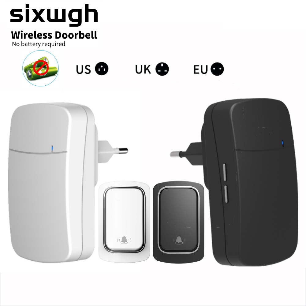 SIXWGH Ring Doorbell Wireless Doorbell No Battery Waterproof Self-Powered DoorBell Home Cordless Ring Dong Chime Timbre Calling