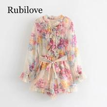Rubilove 2019 Boho Floral Print Holiday Summer rompers womens jumpsuit Lace Up Stand Collar Long Sleeve With Belt Ruffle Jumpsui