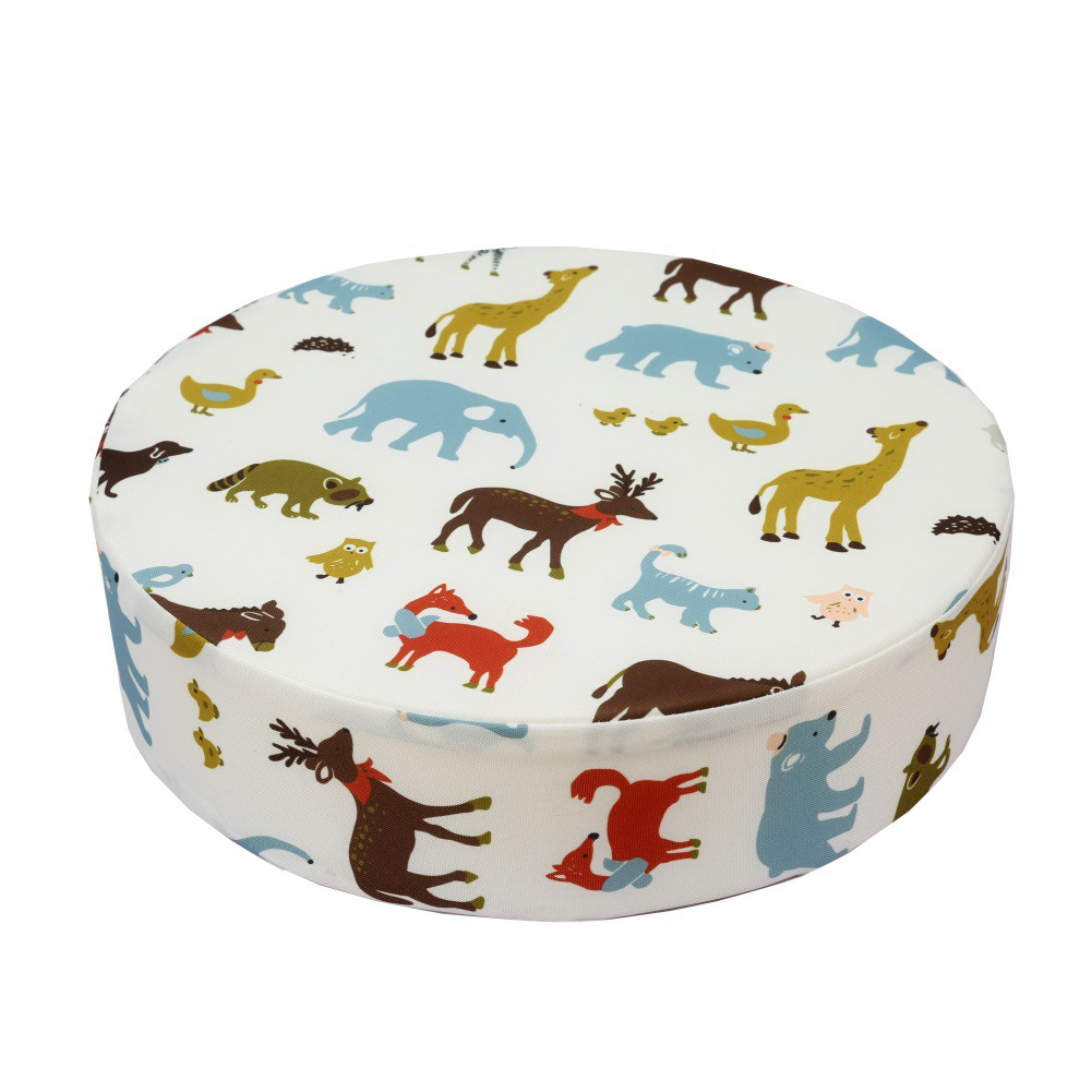Animal Printed Chair Cushion Home Heightening Washable Decoration Mats Round Shape Kids With Strap Booster Seats Dining