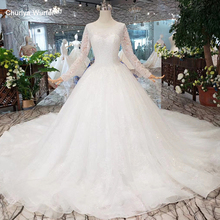 HTL258G Suknia slubna heavy handmade wedding dresses with long sleeves o-neck corset gown 2019 3.28 Anniversary discount
