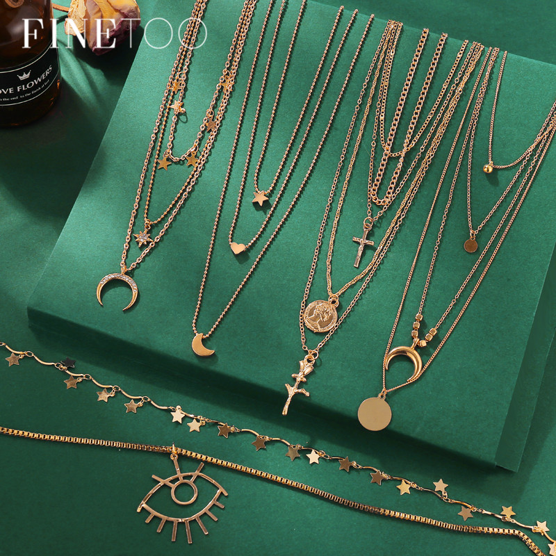 Vintage Multi Layered Pendant Necklace Women Fashion Gold Color Crescent Moon Star Choker Necklaces Jewelry New