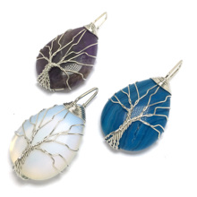 LE SKY Silver Color Tree of Life Wire Wrap Water Drop Necklace & Pendant Reiki Natural Gem Stone Pendant Necklace Men Jewelry