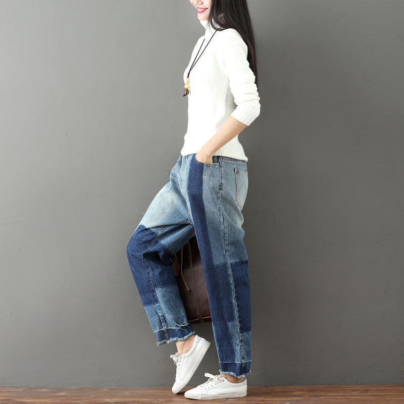Fashion 2020 New Straight Cut Pantaloons Women's Plus-size Wash For Old Fringe Haren Jeans