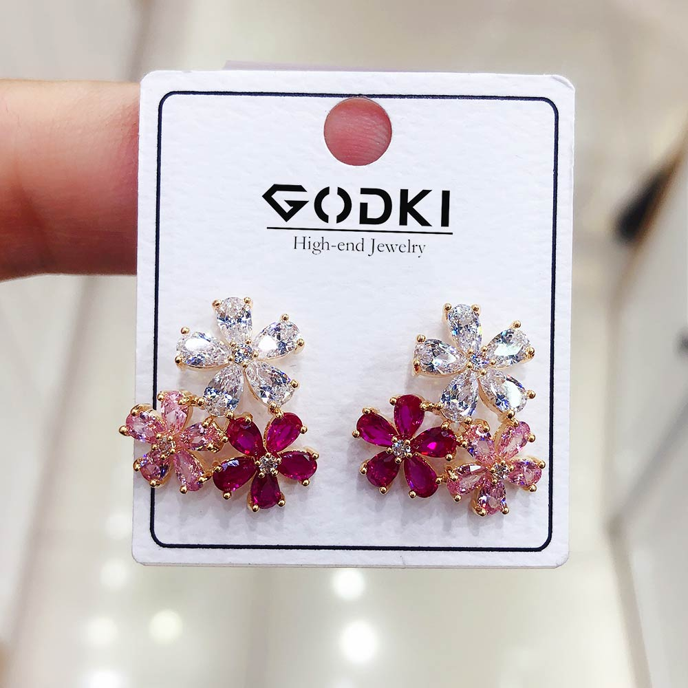 Godki flor encantos multicolorido zircão cúbico brincos