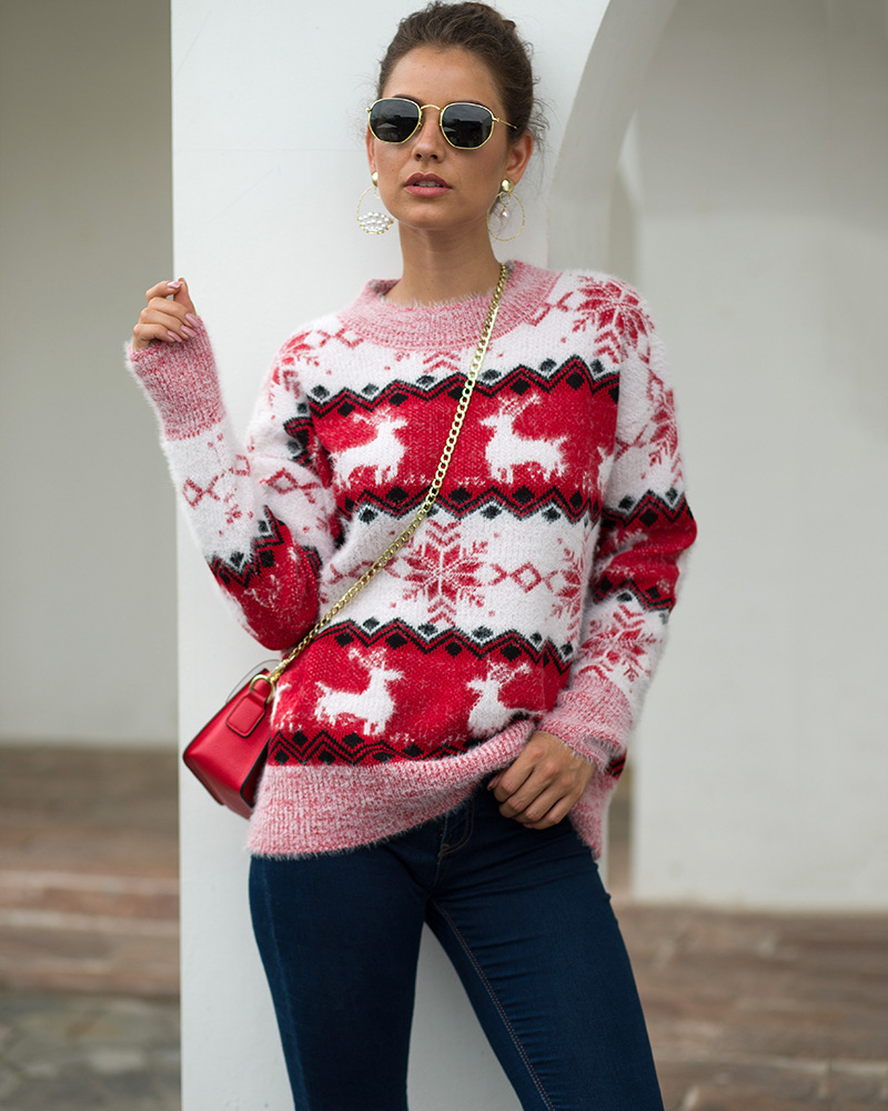 2019 New Autumn Sweater Snow Fawn Pullover Knitted  Sweater Turtleneck Sweater Women Pullover Sweater Winter Christmas Sweater