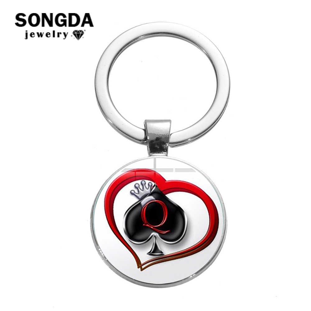 Songda新ピーチハート文字q女王キーホルダー人格ポーカースペードqクラブガラスカボションキーリング車のキーチェーン男性hewelry