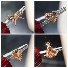 18K Solid Gold Piercing Stud Earrrings for Women Fine Jewelry