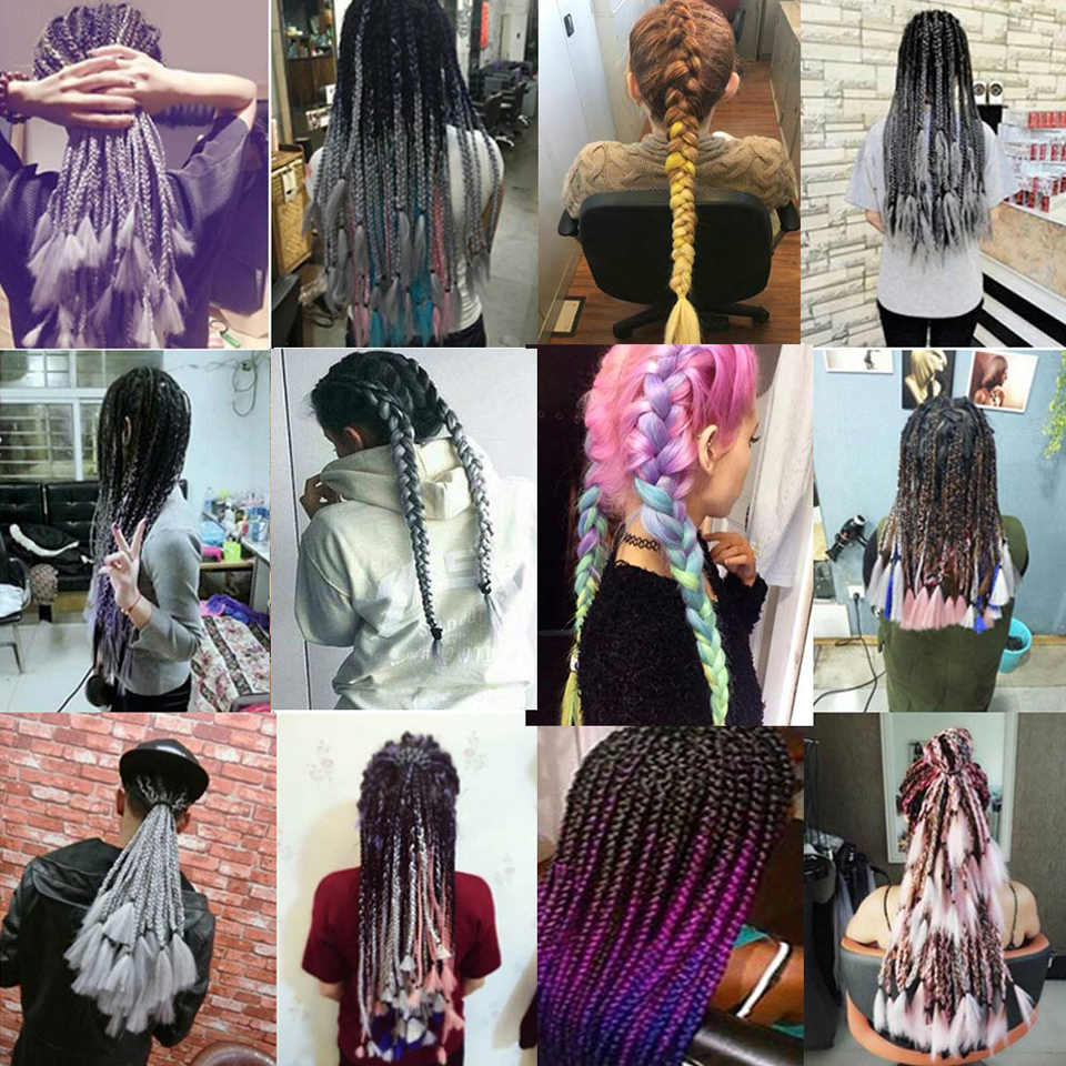 MUMUPI женщины сексуальное женское белье 24 дюйма, вязанные крючком набор кос косы 100 г/шт. длинные, радужной расцветки, на крючках, косички, синтетика, заплетённые волосы, волосы для наращивания