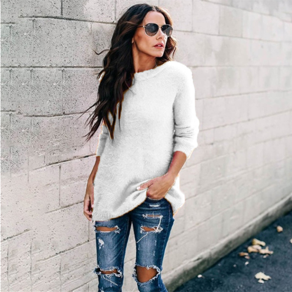 Stylish Dating Casual Warm Home Long Sleeve Crew Neck Autumn Winter Women Knitted Sweater Shopping Street Pullover Daily