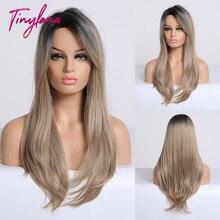 Крошечный LNAN смешанный черный пепельный светло коричневый блонд синтетический парик для тела Волнистые средней части Термостойкое волокно для женщин Косплей длинный парик