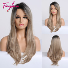 TINY LNAN Mixed Black Ash Light Brown Blonde Synthetic Wig Body Wavy MiddlePart Heat Resistant Fiber For Women Cosplay Long Wig