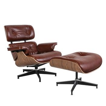 Klasyczna jakość wosk kolor skóra orzech drewno fotel wypoczynkowy eleganckie krzesło obrotowe salon jadalnia krzesło do sypialni Sofa meble tanie i dobre opinie CN (pochodzenie) Nowoczesne Meble do salonu 90*50*61*40 46*63*54 TY-318 Minimalistyczny nowoczesny Szezlong Meble do domu