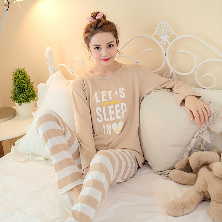 Lettered Stripes Pajamas Women Long Sleeve Trousers Korean-style Casual Sports Tracksuit Pullover Less Women's Plus-sized Set