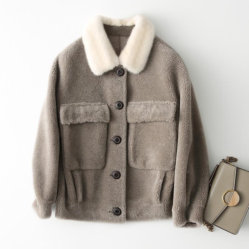 Real 2020 Sheep Shearling Fur Coat Winter Jacket Women Mink Fur Collar 100% Wool Coats Korean Jackets Chaqueta Mujer My S S