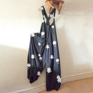 Женский комбинезон без рукавов с цветочным принтом, элегантные длинные брюки из хлопка и льна с широкими штанинами, лето 2020