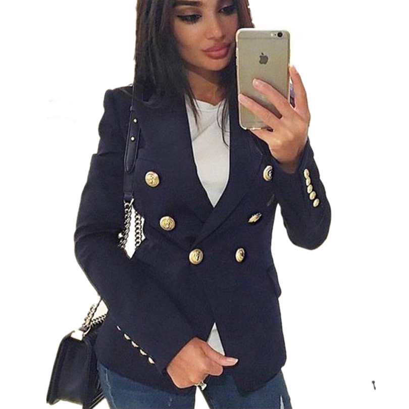MVGIRLRU Office Lady Blazers Women's Double Breasted Blazer Jacket Female Workwear Slim Coats