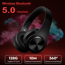 Bluetooth Headphones Supports TF Card Tablet Heavy Bass Folding Portable Adjustable Wireless Stereo Headsets Earbuds with Mic bluetooth headset wireless headset supports tf card mobile computer tablet heavy bass folding portable adjustable