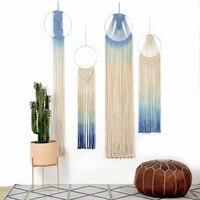 Macrame Dyed Fringe Tapestry Wall Hanging Ring Japanese Minimalist Style Room Decoration