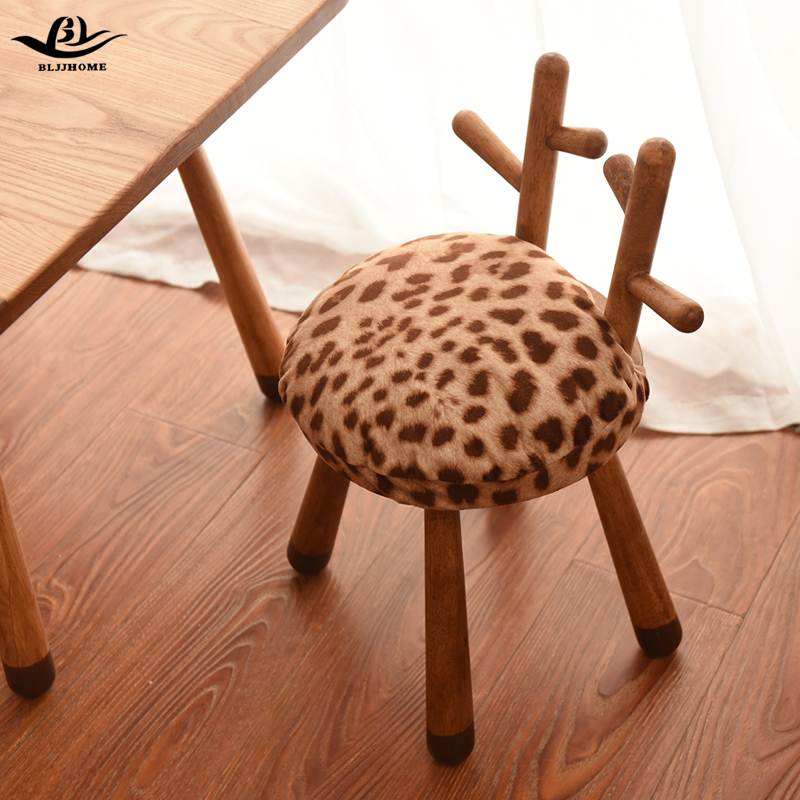 Solid Wood Children's Bench Cartoon Deer Bench Kindergarten Baby's Table And Chair Suite Nordic Animal Children's Chair