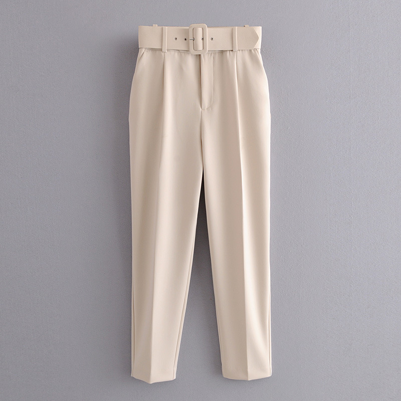 H453d7205e3804154a33922090495c1d1m - Office Lady Black Suit Pants With Belt Women High Waist Solid Long Trousers Fashion Pockets Pantalones FICUSRONG Pencil