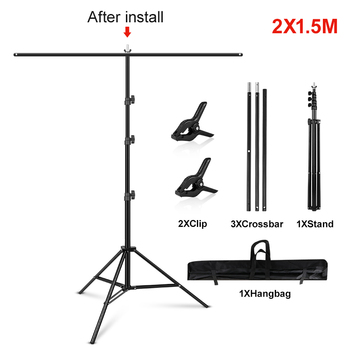 1.5/2/2.6M*2M T-Shape Backdrop Stand With Green Screen Photo Background Support For Birthday Portrait Photo Studio Photography 10