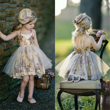 Toddler Baby Girl Clothes Flower Print Backless Strap Dress Wedding Party Pageant Tutu Tulle Sundress Children Princess Costume children strap princess dress girl off the shoulder chiffon print dress skirt wedding party elegant flower baby girls dress