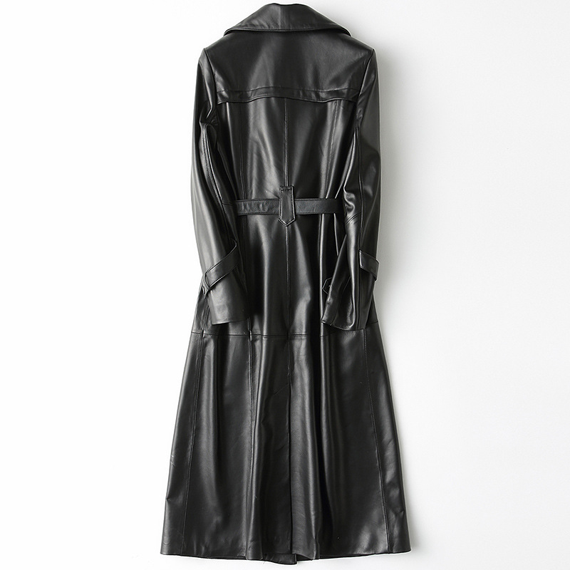 Winter Long Black High Quality Sheepskin Real Leather Coats with Sashes Turn-down Collar Business Attire Jacket Coat Outerwear