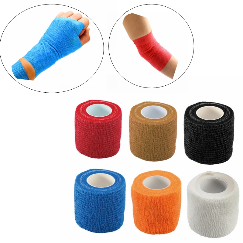 5cm*4.5m Self-Adhesive Elastic Bandage First Aid Medical Health Care Treatment Gauze Tape Emergency Muscle Tape 5 Pcs/lot