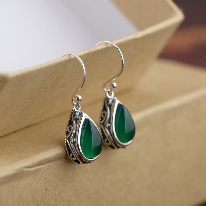 Fashion Silver Drop Dangle Earrings Green Red Stone Heart Earring For Women Jewelry
