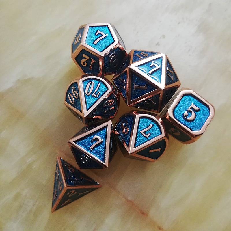 dnd dice metal rpg set polyhedral dungeons dragon d20 10 6 8 12 blue table games Zinc alloy green digital dice pattern