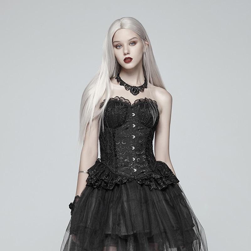 PUNK RAVE femmes Lolita noir elfe Corset gothique maille Jacquard motif Fit serré plis lâche à lacets ourlet Sexy sans manches Corset