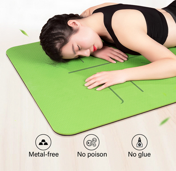 TPE Yoga Double Layer Non-Slip Mat Yoga Exercise Pad with Position Line For Fitness Gymnastics and Pilates 2