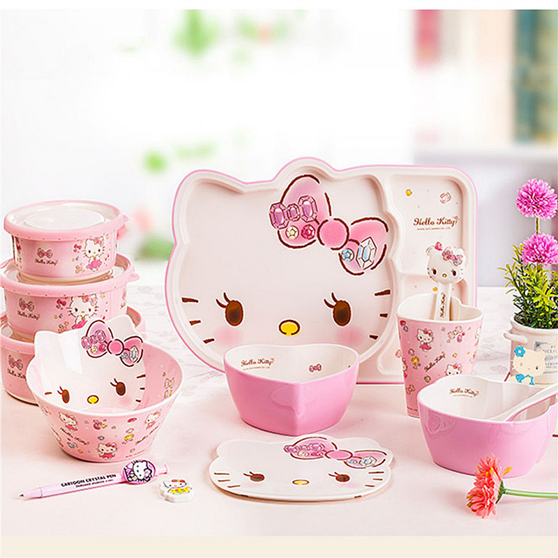 Hello Kitty Dishes Cute Pink Home Children Tableware Melamine Anti fall Salad Bowl Mixing Bowl Tray Sealed Fresh Bowl Set|Bowls| |  - title=