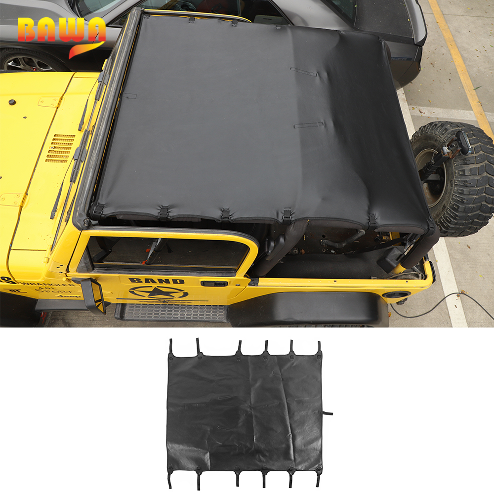 BAWA Leather Soft Roof Top Cover Sunshade Top Full Length Cover Car Exterior Accessories for Jeep Wrangler TJ 1997-2006
