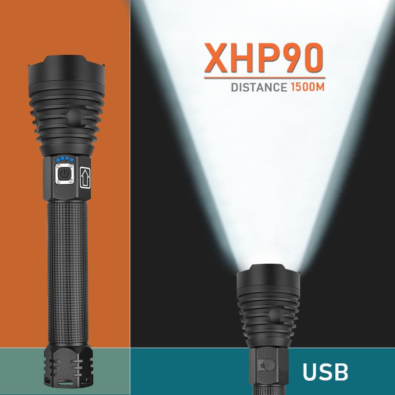 250000 Lumens Xhp90 Most Powerful Led Flashlight  Usb Rechargeable Torch  Xhp50 Xhp70 Hand Lamp 26650 18650 Battery Flash Light
